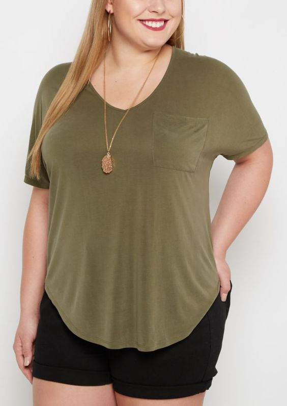 image of Plus Olive Slouchy Dolman Pocket Tee