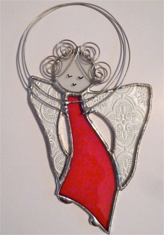 stained glass angel | Stained Glass Angel Suncatcher (R-6) | Angels and butterflies
