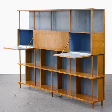 Custom-made bookshelf in caviona wood. Designed by Joaquim Tenreiro for a private commission in the Flamengo neighborhood of Rio de Janeiro, Brazil, 1950s.