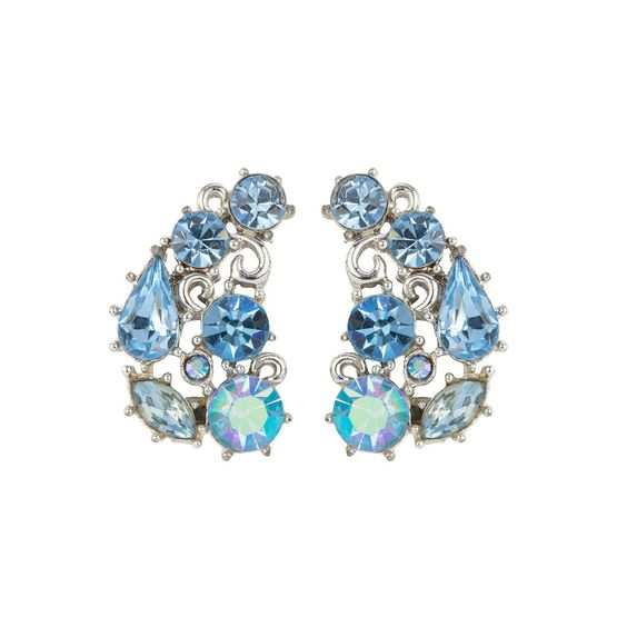 1950s Vintage Lisner Sky Blue Crystal Earrings