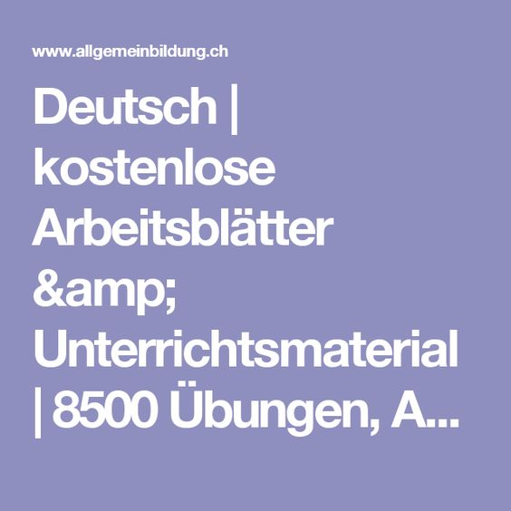 deutsch kostenlose arbeitsbl228tter amp unterrichtsmaterial