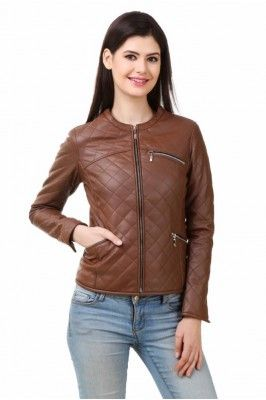 Smarten up your winter look in this brown full sleeved PU leather jacket for Women #womensfashion #womensjacket #leatherjacket #winterwearforwomen #brownjacket