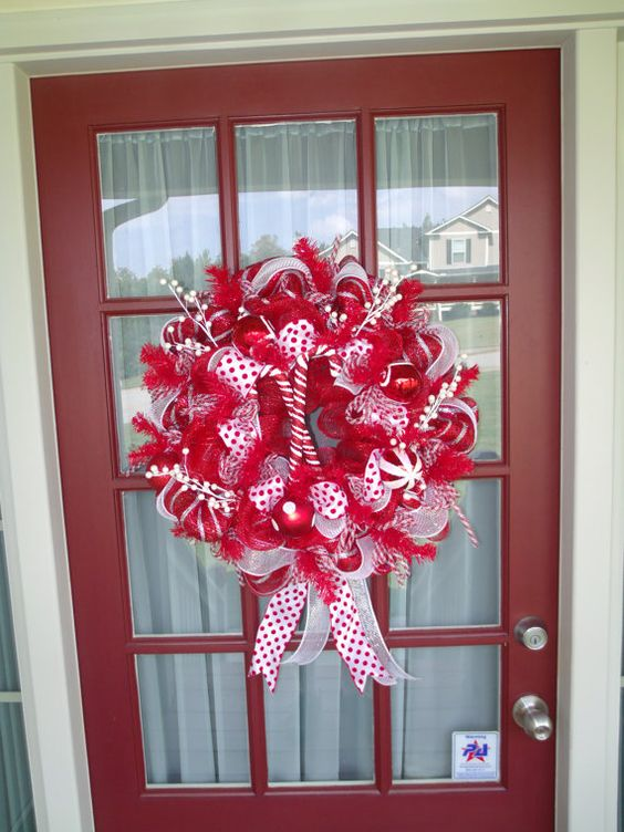 Christmas Deco Mesh Door  Wreath by CrazyboutDeco on Etsy, $89.00