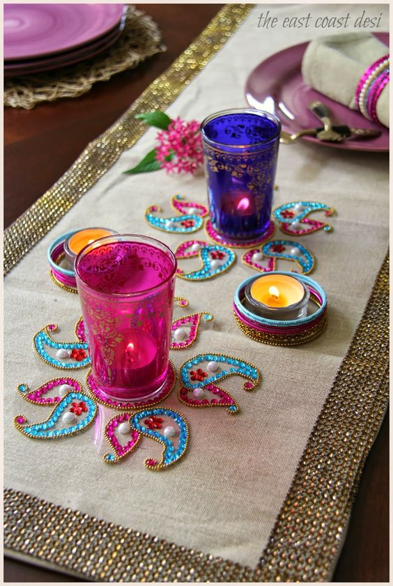 A Medley of Influences (Diwali Tablescape) : Kundan Rangoli and Moroccan tea glasses: