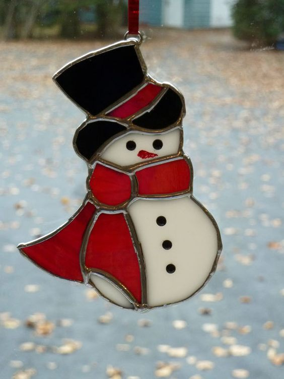 Stained glass snowman Christmas tree by SaraFranceGlassart on Etsy