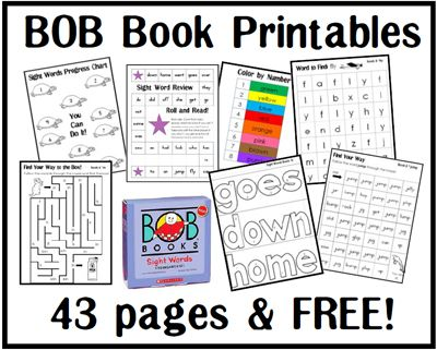40+ pages of printables that go with BOB Books Sight Words: Kindergarten.