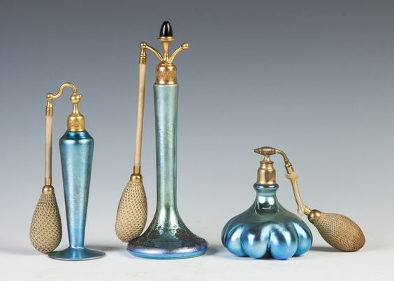 Steuben blue Aurene atomizers.Richard Bright and Kyle Goodman Collection, Corning, NY.