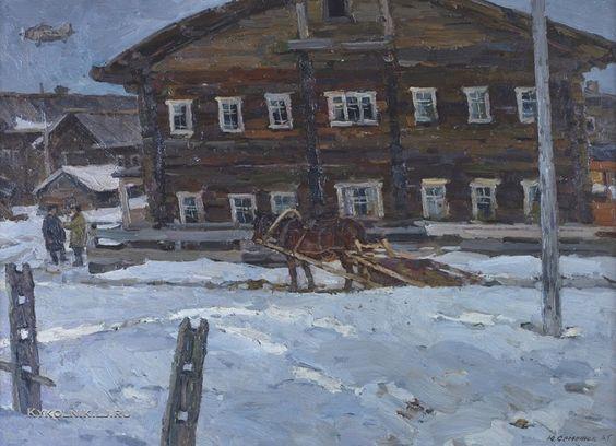 Семенюк Юрий Иванович (1922-2006) «Дом в районе Крайнего Севера. Важгорт» 1965