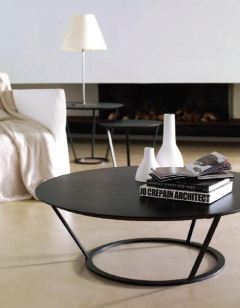 Mesa de centro en negro redonda mesas de centro pinterest zaragoza mesas and pies - Mesas de centro redondas amazon ...