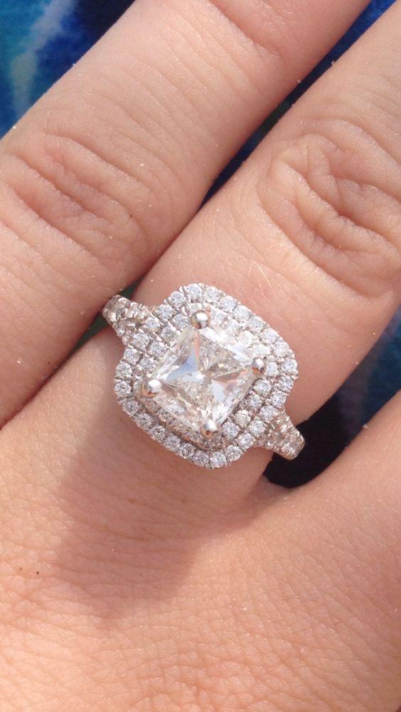 Cushion cut diamond double halo split shank=LOVE Wedding Pinterest