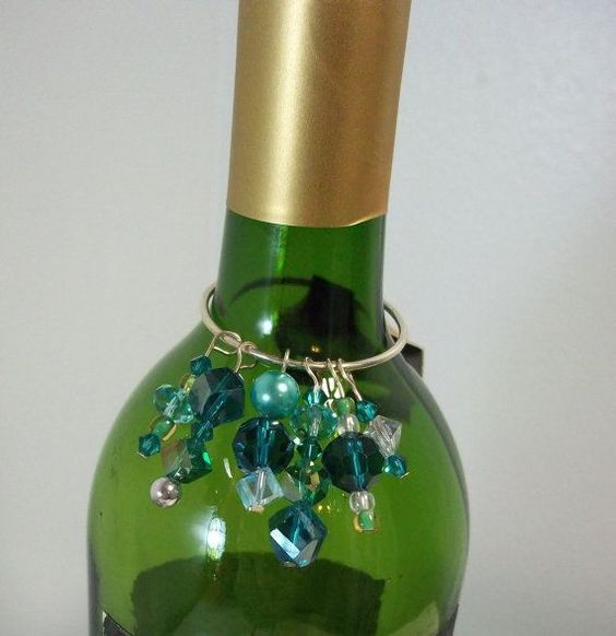 wine bottle charms handcrafted from vintage jewelry teal