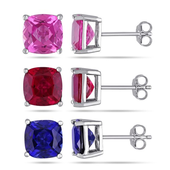 Miadora Sterling Silver Multi-gemstone Solitaire Earrings