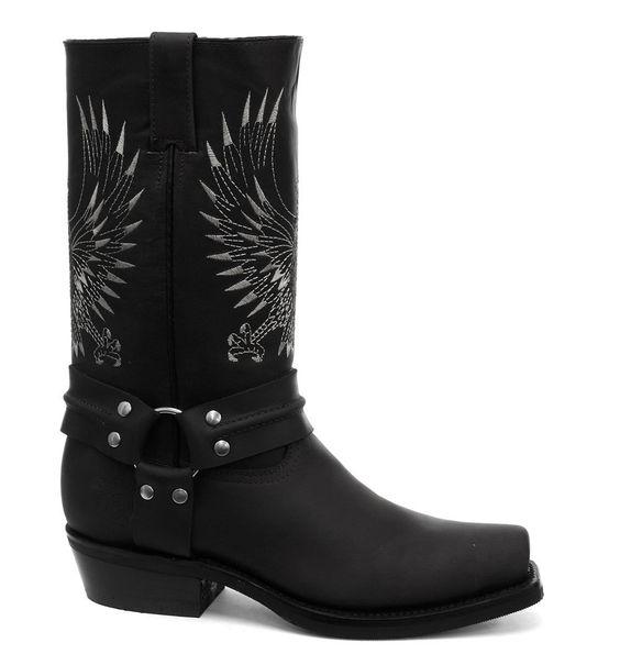 Grinders Bald Eagle Black Mens Cowboy Boots: Amazon.co.uk: Shoes ...