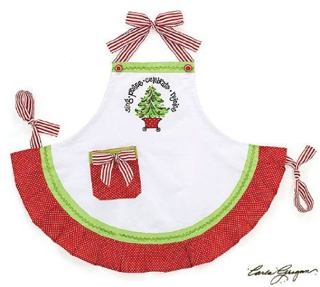 """""""Sing Praise Celebrate Rejoice"""" Christmas Tree Hand painted Adult Apron Gift"""