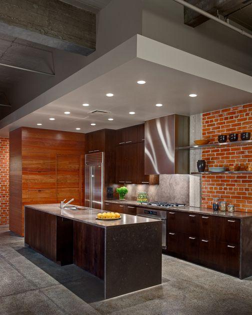 Industrial chic kitchen design // poteet architects, lp #brick #wood #stone #steel