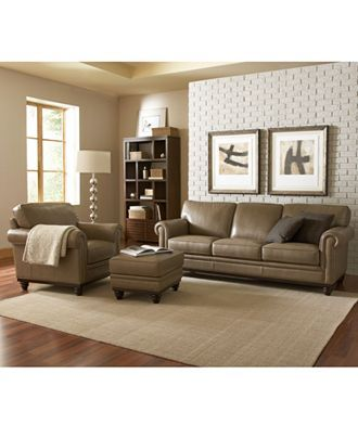 Martha Stewart Bradyn Leather Sofa Living Room Furniture Collection LIMITED