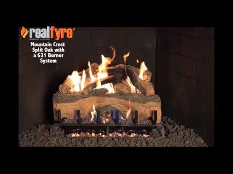 Peterson Real Fyre 18 Inch Mountain Crest Split Oak Gas Log Set With Vented G31 Three Tiered Natural Gas Burner Match Light Gas Logs Vented Gas Fireplace Fireplace Tool Set