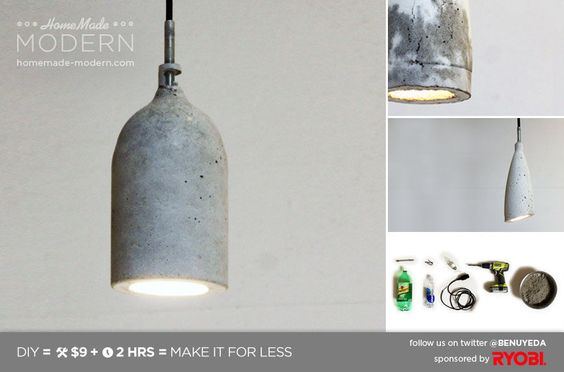 very cool diy concrete lamp using soda bottles for the form. pretty genius...AND heavy.