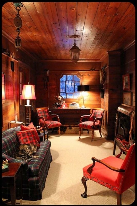 You don't need a lot of room to have a fabulous small home office.: Tack Rooms, Man Cave, Tartan Plaid, Home Office, English Country, Equestrian Style
