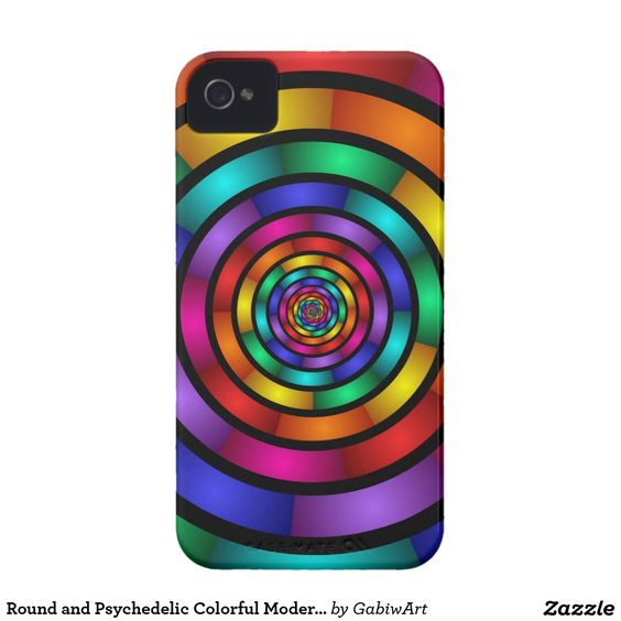 Round and Psychedelic Colorful Modern Fractal Art iPhone 4 Case