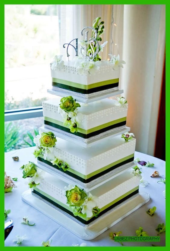 4 tier wedding cake with green ribbon at skylinks golf. Black Bedroom Furniture Sets. Home Design Ideas
