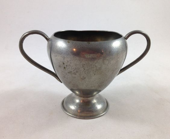 Vintage pewter loving cup - Solid pewter cup - Pewter cup with double handles…