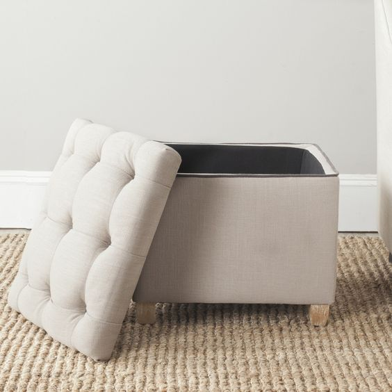 Safavieh Joanie True Taupe Linen Storage Blend Ottoman - Overstock™ Shopping - Great Deals on Safavieh Ottomans