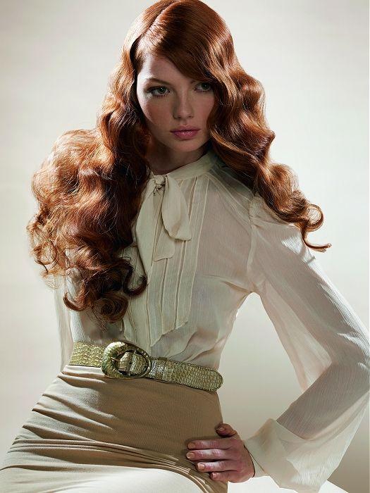 Red wavy curls.