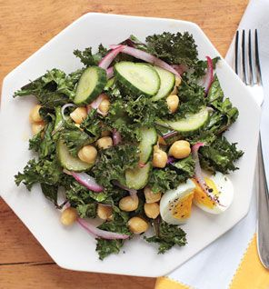 Quick-Pickled Kale Salad  Kale is like kryptonite to acne: A half cup fulfills your daily needs for vitamin A, a nutrient that attacks blemishes by reducing inflammation and strengthening skin's defenses against pimple-causing bacteria. Toss some up for clear skin!