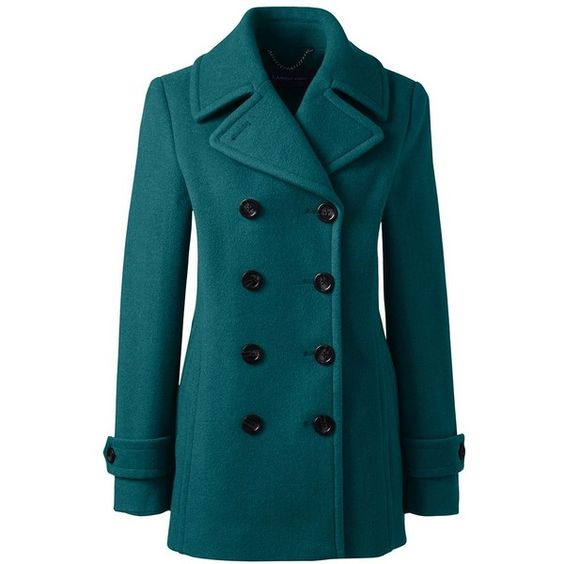 Lands' End Women's Petite Wool Peacoat ($179) ❤ liked on Polyvore featuring outerwear, coats, blue, petite coats, petite pea coat, blue coat, blue wool coat and woolen coat
