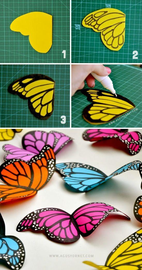 Diy paper butterflies manualidades papiroflexia for Diy paper crafts tutorials