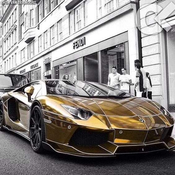 Tron Lamborghini Aventador In Gold!