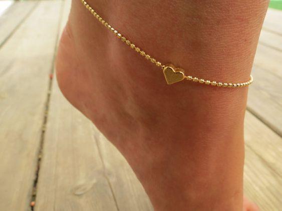 Ankle Bracelet, Gold Ankle Bracelet, Gold Bracelet, Delicate armband, bruiloft sieraden, voet juwelen, hart enkel, sieraden armband