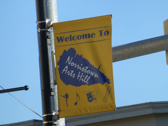 Norristown Arts Hill banner, announcing our presence to the community