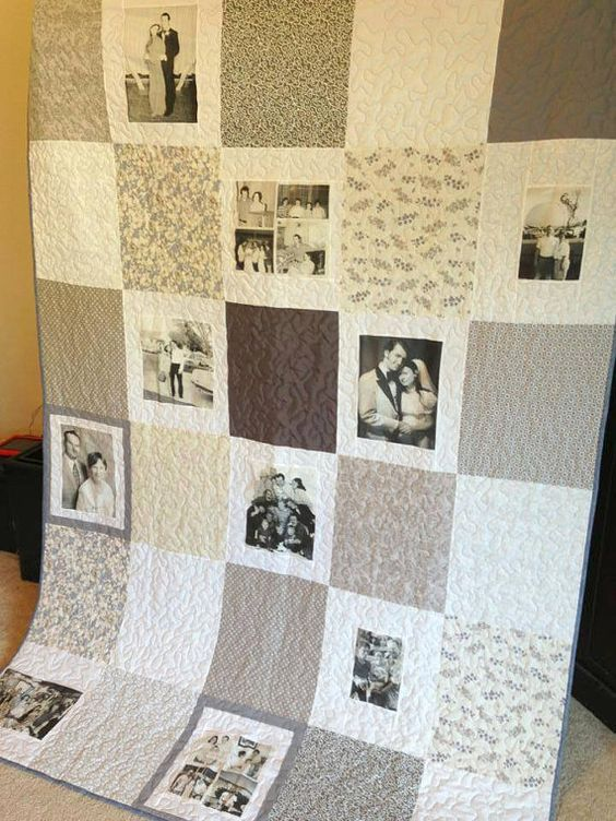 16 Photo Vintage Style Photo Memory Quilt  by MemoriesOnMaterial, $245.00: