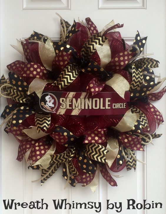 Florida State University Seminoles Garnet, Black and Gold Deco Mesh Sports Wreath, Football Wreath, FSU Decor, Collegiate Wreath by WreathWhimsybyRobin on Etsy