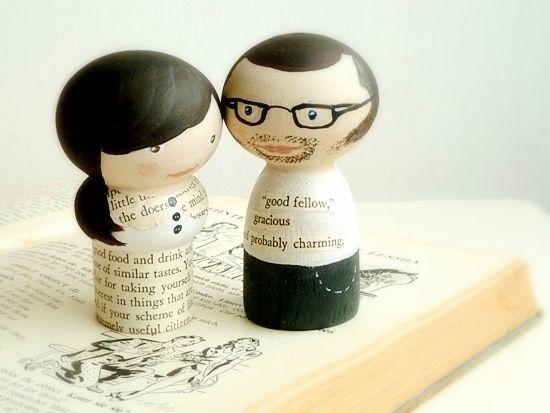 Hand-painted kokeshi-style dolls.