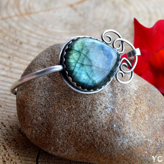 Labradorite Bangle Bracelet-Sterling Silver Cuff Bracelet-Turquoise Sparkle Labradorite Jewelry-Metalwork 925 Silver Jewelry-Handmade Bangle by YagnaCreations on Etsy