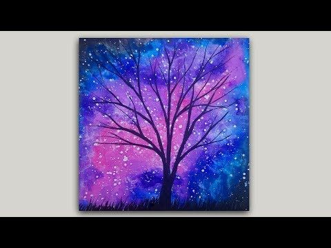 Watercolor Painting Rose Galaxy And Tree Silhouette Youtube