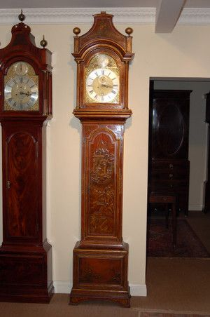 J Heardman lacque grandfather clock with Chinese decorated scenes