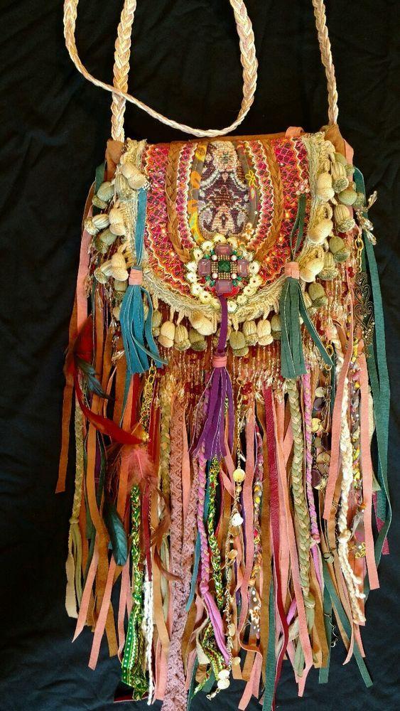 Handmade Leather Ibiza Festival Bag Leather Hippie Boho Hobo Gypsy Purse tmyers…