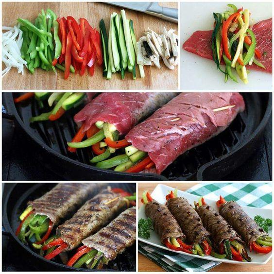 Balsamic-glazed Steak/Veggie Rolls Tender steak rolls filled with ...