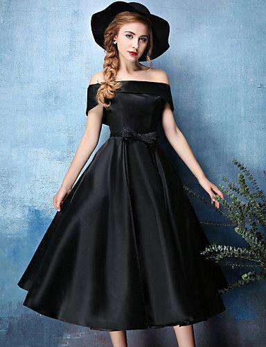 Sukienka - Cocktail Party - Jadeit / Czarny -Line Off-the-shoulder Tea-długość Satin Chiffon / Poliester 4568992 2016 – $109.99