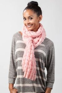 Pink Acrylic Oslo Sparkle Solid Knit Scarf