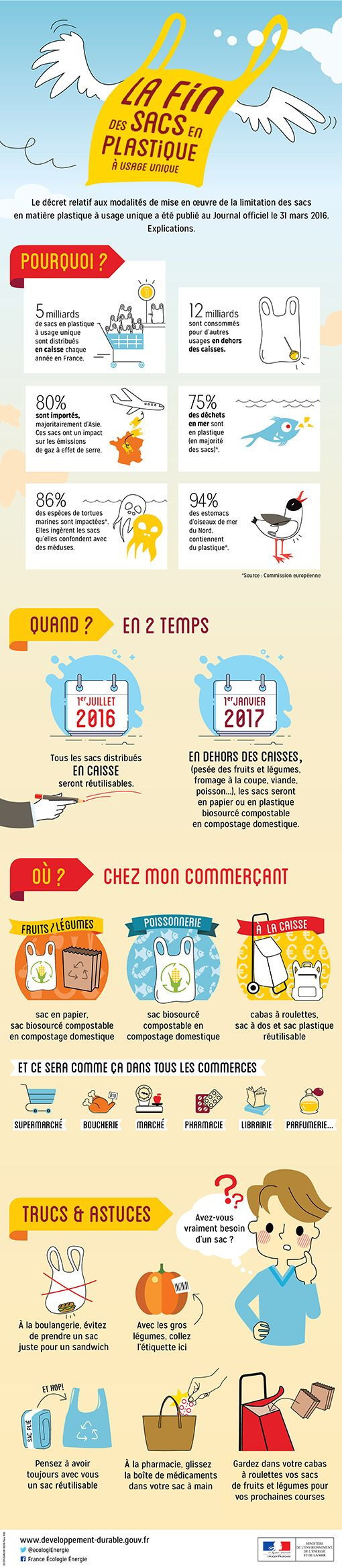Infographie : la fin des sacs en plastique à usage unique - Ministère de l'Environnement, de l'Energie et de la Mer