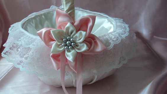 Flower Girl Basket in White with Pink Flowers