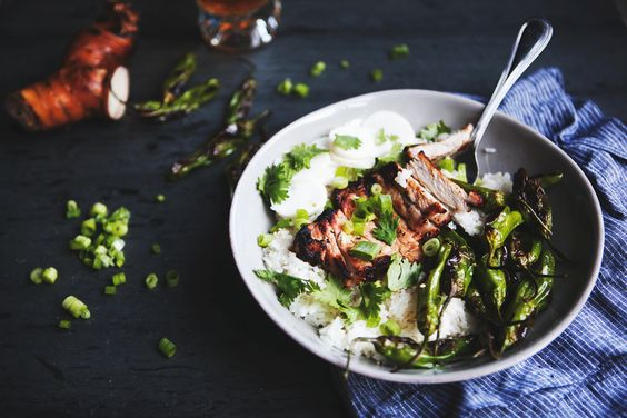 Thai Ginger Grilled Pork Rice Bowl with Charred Shishito Peppers and ...