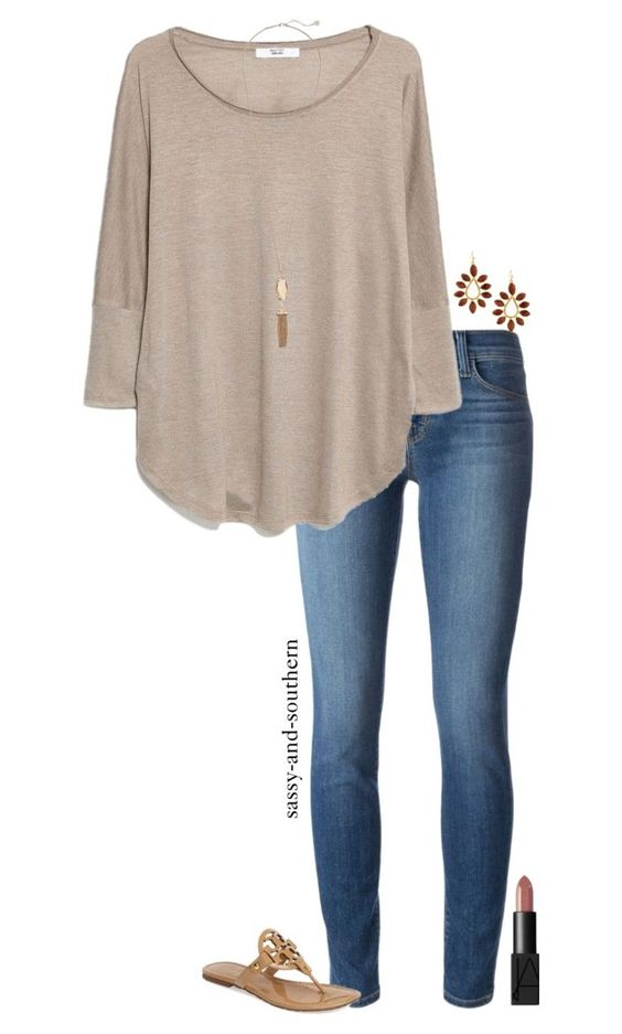 """school outfit"" by sassy-and-southern ❤ liked on Polyvore featuring J Brand, MANGO, Kendra Scott, Tory Burch, NARS Cosmetics and sassysouthernfall:"