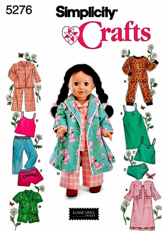 18 inch Doll Clothes Pattern, 18 in Doll Clothes Pattern, Doll PJs and Robe Pattern, Simplicity Pattern 5276
