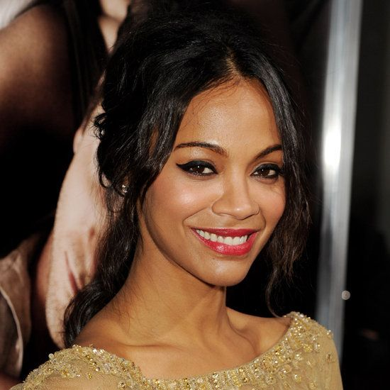 Zoe Saldana's Winged Cat-Eye Liner and Red Lips